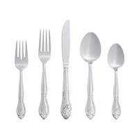 Darby Home Co Eastlawn 46 Piece Rose Monogram Letter Flatware Set
