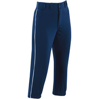 High Five 15102Women's Piped ProLow Rise Softball Pant  - Navy White