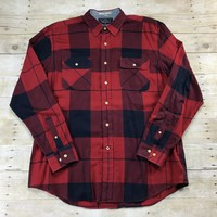 Nautica Navy/Red Plaid Button Up Shirt Mens Size Large
