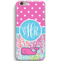 Pink Polka Dot Flower Personalized Inspired Vineyard Vines iPhone 6 Case, iPhone 5S Case