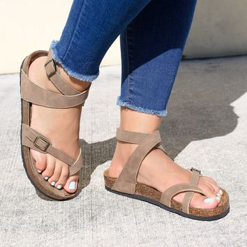 Lace Up Taupe Footbed Sandals