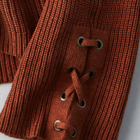 AEO Cold Shoulder Laced-Sleeve Sweater, Rust