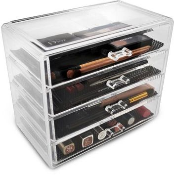 Acrylic Drawer Makeup Organizer with 4 Removable Drawers - Walmart.com