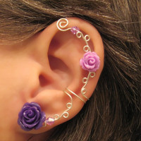 """Non Pierced Ear Cuff  """"Roses are Purple"""" Cartilage Conch Cuff Color Choices Wedding Prom Quinceanera"""