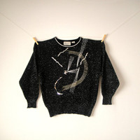 80's Black Graphic Sweater. Pullover. Metallic. Sequins. Abstract. Gold Silver. Novelty. Oversized. Small Medium Large