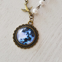 full moon necklace, space picture pendant, space jewelry, midnight, moon jewelry, bird necklace, photo pendant, universe, night sky, bff