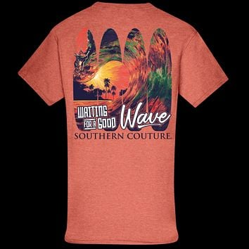 Southern Couture Classic Waiting For Good Wave Beach T-Shirt