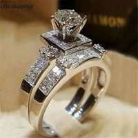 choucong Court Promise ring set AAAAA Zircon Cz 925 Sterling silver Engagement Wedding Band Rings for women men Jewelry