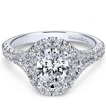 "Gabriel ""Kennedy"" Oval Halo Diamond Engagement Ring"