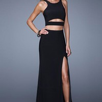 La Femme 21106 Fitted Cut Out Long Black Prom Dress