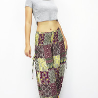 Rayon Bohemian Trousers Hippie Boho Pants Maroon Yellow Green (TS157)