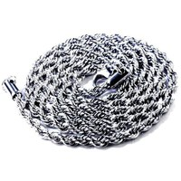 Men's Rope Chain Stainless Steel Hip Hop Heavy 30 Inches long 4mm wide Necklace