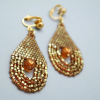 Topaz Gold Luster Colored Beaded Clip-on Earrings
