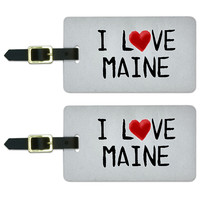 I Love Maine Written on Paper Luggage Tag Set