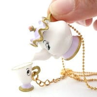 Disney Beauty And The Beast Mrs. POTTS & CHIP necklace unique gifts for girls birthday party favors