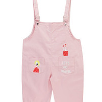Canvas Overall Pants with Cartoon Print