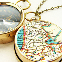 Personalized Map Compass Necklace  Amsterdam Map by soradesigns
