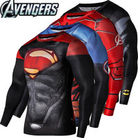 2016New Sport Wear Fitness Compression Shirt Men Superman Captain America Batman Spiderman Iron Man Sport T-shirt Fitness Wear
