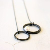 Silver Open Circles Necklace White Pearl handmade under 75
