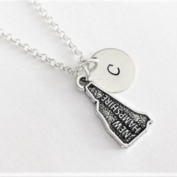 New Hampshire necklace personalized initial necklace New Hapshire jewelry map necklace friendship best friend no matter where monogram charm