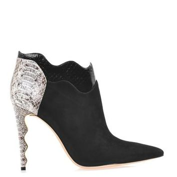 Suede and watersnake ankle boots   Alexandre Birman   MATCHESF...