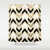 Black, White & Gold Glitter Herringbone Chevron on Nude Cream Shower Curtain by Tangerine-Tane