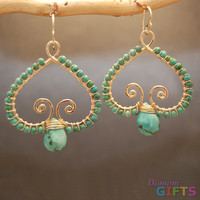 """Hammered swirly drops wrapped with your choice of green turquoise or blue turquoise, 1-1/2"""" Earring Gold Or Silver"""