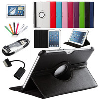 7 in 1 For Samsung Galaxy Tab 2 10.1 inch P5100 Tablet PU Leather Case Cover Rotating+Micro OTG cable+USB cable