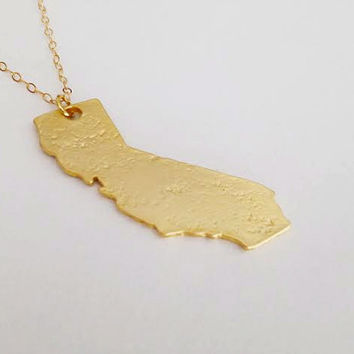 California Girl Necklace- Gold California Pendant on 24k gold chain