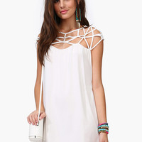 White Cutout Chiffon Dress