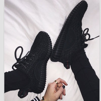 """Adidas"" Women Yeezy Boost Sneakers Running Sports Shoes Black"