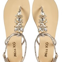 Miss KG Delight Snake Print Embellished Flat Sandals