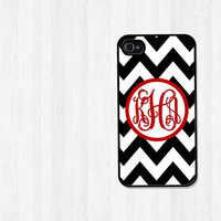 CIJ 15% Off - Personalized iPhone Case, iPhone 4, iPhone 5, Samsung Galaxy S3, Black Chevron Preppy Red Script Monogram (268)