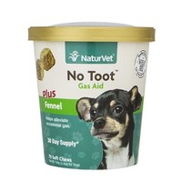 NaturVet No Toot Gas Aid +Fennel Dog Chew 70ct