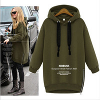 Extra Plus Size Loose Long Pullover Long Sleeve Casual Simple Pullover Hoodie Sweatshirt Blouse Shirt  _ 9044