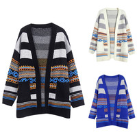 Geo Knitted Long Sleeve Open Front Cardigan