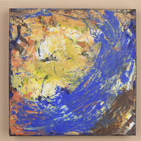 Original Abstract Art Painting Blues Purples Yellow Maelstrom Acrylic on Canvas