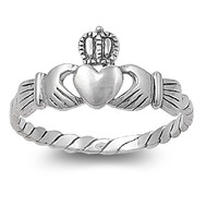 925 Sterling Silver Friendship and Togetherness Claddagh Ring