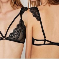 Summer Lace Hollow Out Bra Sexy Stylish Spaghetti Strap Tops Underwear [7222481731]