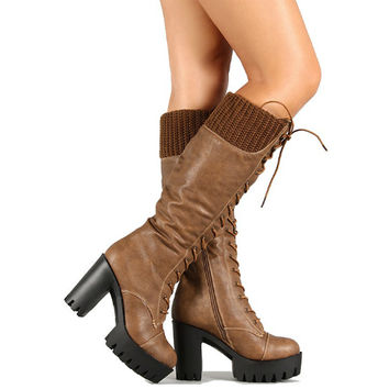 Sam-01 Black Camel Lug sole Chunky Heel Lace up Knee High Boot