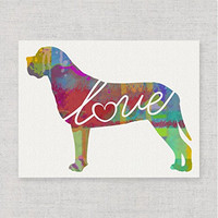 English Mastiff Love - Modern & Whimsical 8x10 Dog Breed Watercolor-Style Wall Art Print / Poster on Fine Art Paper (Unframed)