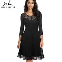 Nice-forever Vintage Embroidery Flower Lace vestidos Sexy Hollow O-Neck A-Line Pinup Business Women Flare Dress A072