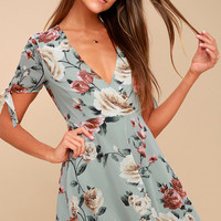 Botany Language Sage Green Floral Print Skater Dress
