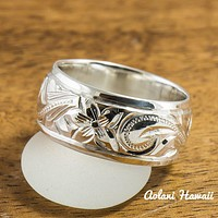 Traditional Hawaiian Hand Engraved Sterling Edge Silver Ring (8mm width, Barrel Style)