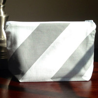 Make up cosmetic bag zipper pouch clutch  large by BlueBearDesigns