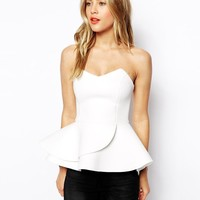 ASOS | ASOS Bandeau Top with Double Ruffle in Scuba at ASOS