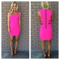 Party To The Break Of Dawn Dress - HOT PINK