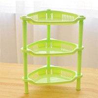 Topshop 3 Tier Plastic Corner Shelf Organizer Bathroom Kitchen Storage Rack Holder (Green)