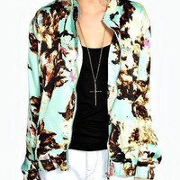 Floral Print Long-Sleeve Zipper-Up Jacket With Pockets