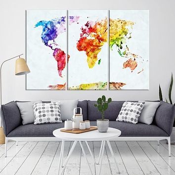 62042 Large Wall Art World Map Watercolor Canvas Print World Map Poster Print